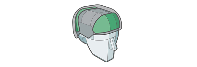 Integrated Impact Shields feature of Sweet Protection helmet.