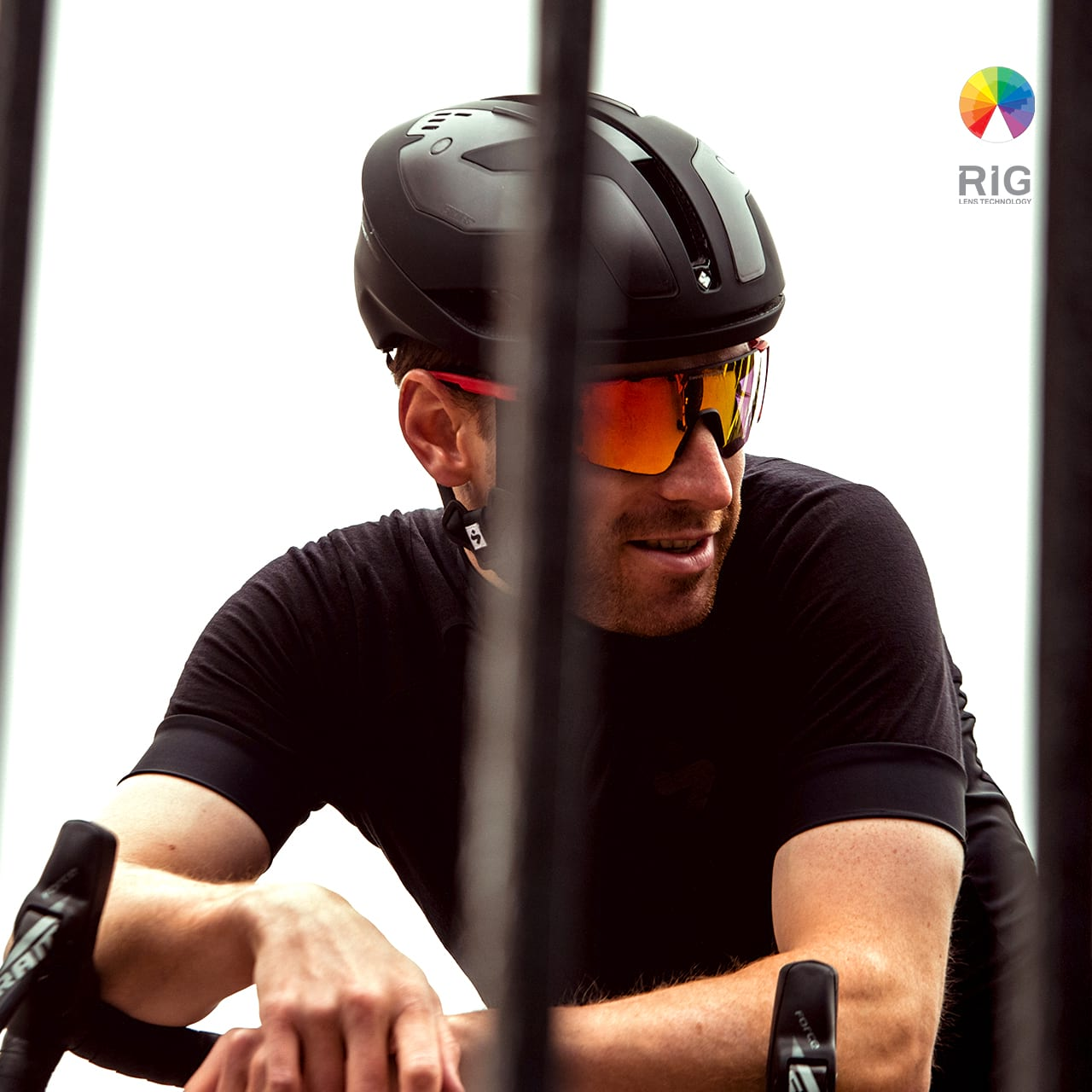 A man with a bicycle helmet and sunglasses from Sweet Protection.