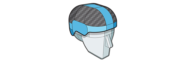 Thermoplastic Laminated Carbon Fiber (TLC) Shell layer of Sweet Protection helmet.